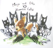 Otis and Mojo vs Zombie Cats by AgnesGarbowska