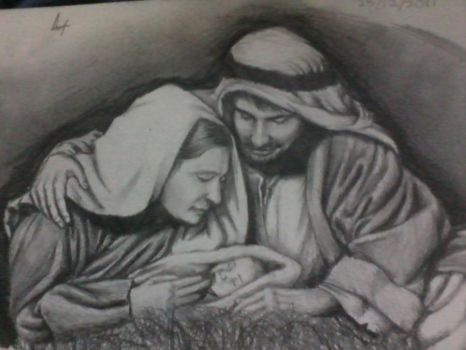 Joseph,Mary and Baby Jesus by Thenothappening