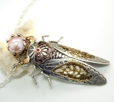 Return Of The Locust Art Nouveau Necklace by byrdldy