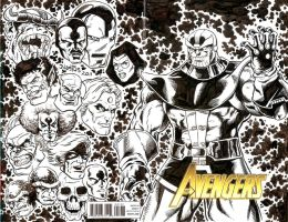 Avengers Issue 1 Sketch Cover with Thanos by ElfSong-Mat