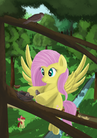 Fluttershy and bird by Ailynd