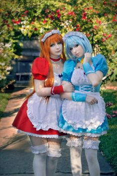 Asuka and Rei maids by LucyIeech