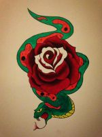 Snake and rose traditional flash by BeyondEdge