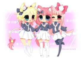Pinku Pink Friends! by Miumeii