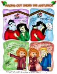 Making out under the mistletoe by Dinogaby