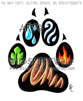 Elemental Pawprint Tattoo by WildSpiritWolf
