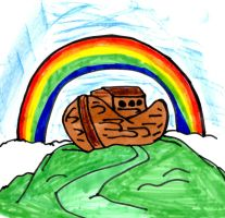 Childlike Noah's Ark Drawing by SonicClone