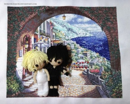 Noctis and Luna in Altissia Embroidery by ShiroiKoumori