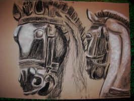 horses drawing by perupowa