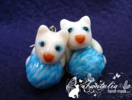 "Earrings ""Kittens with clews"" by Tantalia"