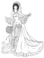 Me in Yuna's wedding dress by KeeperOfCoffins