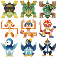 PokeMonster Hunter Gen 4 Starters by Gryphon-Shifter