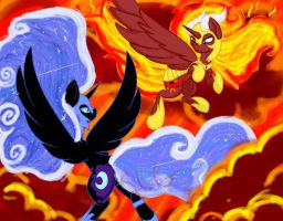 mlp nightmare moon vs solar flare by shadowwolffox