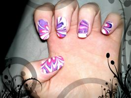 6. Purple Water Marble Nails by megs2606