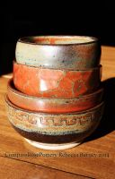 Iron Red Bowl Stack by CompassRosePottery