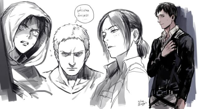 Eren Reiner Ymir and Bertholdt by sine-eang