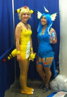 Ampharos and Vaporeon by SydkneeBean