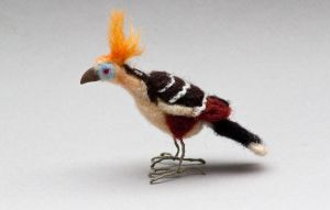Needle felted hoatzin by creturfetur