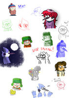 Regular Show and South Park doodles by LotusTheKat