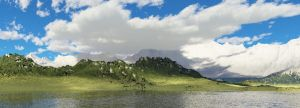 Mountain by the lake by l15ard