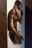 Pyrography of the scout from TF2 on a baseball bat by brandojones