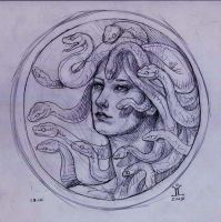 medusa three-quarter sketch by larkin-art