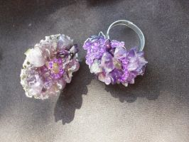 Rings with amethyst by edelweiss-workshop