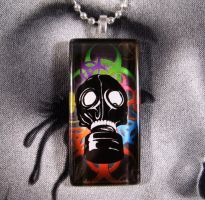 Biohazard Gas mask Necklace by AngelElementsEtsy