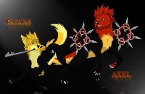 Roxas and Axel gone wolf by Nightrizer