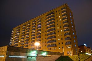 My Apartment Block by Night by s-ense