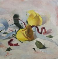 still life painting - yellow roses by Hussainalbnnay