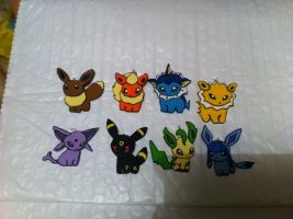 Eeveelution Pokedoll- Clay necklace pendents by sazmullium