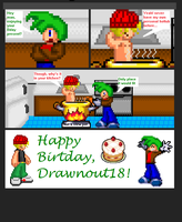 Birthday comic for Drawnout18 by AaronScales5