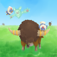 Bisons and Birds - commission by uixela