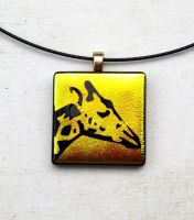 Giraffe Sunset Fused Glass Pendant Necklace by FusedElegance