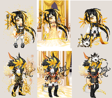 Golden Twins Outfits by lovelyrosethorn