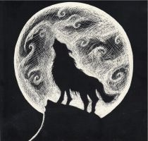 Wolf Howling at the Moon by CaylaLydon