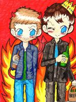 Lucifer + Crowley - Beers in hell by ChibiVillage