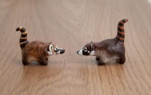 Little coati polymer clay figurines by lifedancecreations