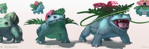 Pokemon: Bulbasaur, Ivysaur, Venusaur by TwoDD