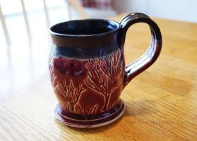 Ceramic Burgundy and Black Tree Themed Mug by ashynekosan