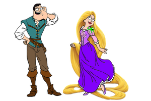 Stan and Francine as Eugene and Rapunzel by darthraner83