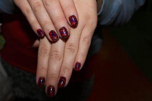 purple, red, black polka dot nail art by Agathanaomi