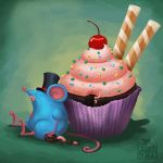 Mr. Bluemouse and a Cupcake 01 by MalayaTerrenal