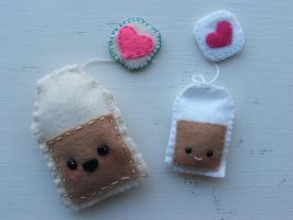 Tea bag plushies by RedHeadedJen