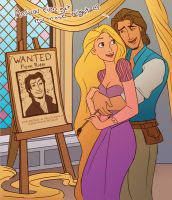 Rapunzel paints Flynn by julvett