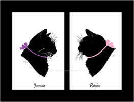 Jasmine and Patches ribbon silhouette portrait by JustLynnWeav