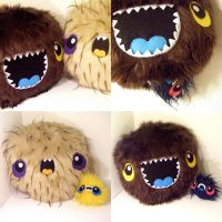 TWO MONSTER PILLOWS W. BABIES by loveandasandwich