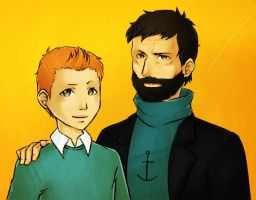 Tintin and Haddock by KarniMolly