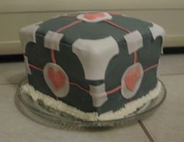 Companion Cube Cake by Kyra-Wolf